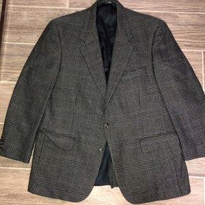 Men BURBERRY Gray Herringbone Check Jacket Blazer
